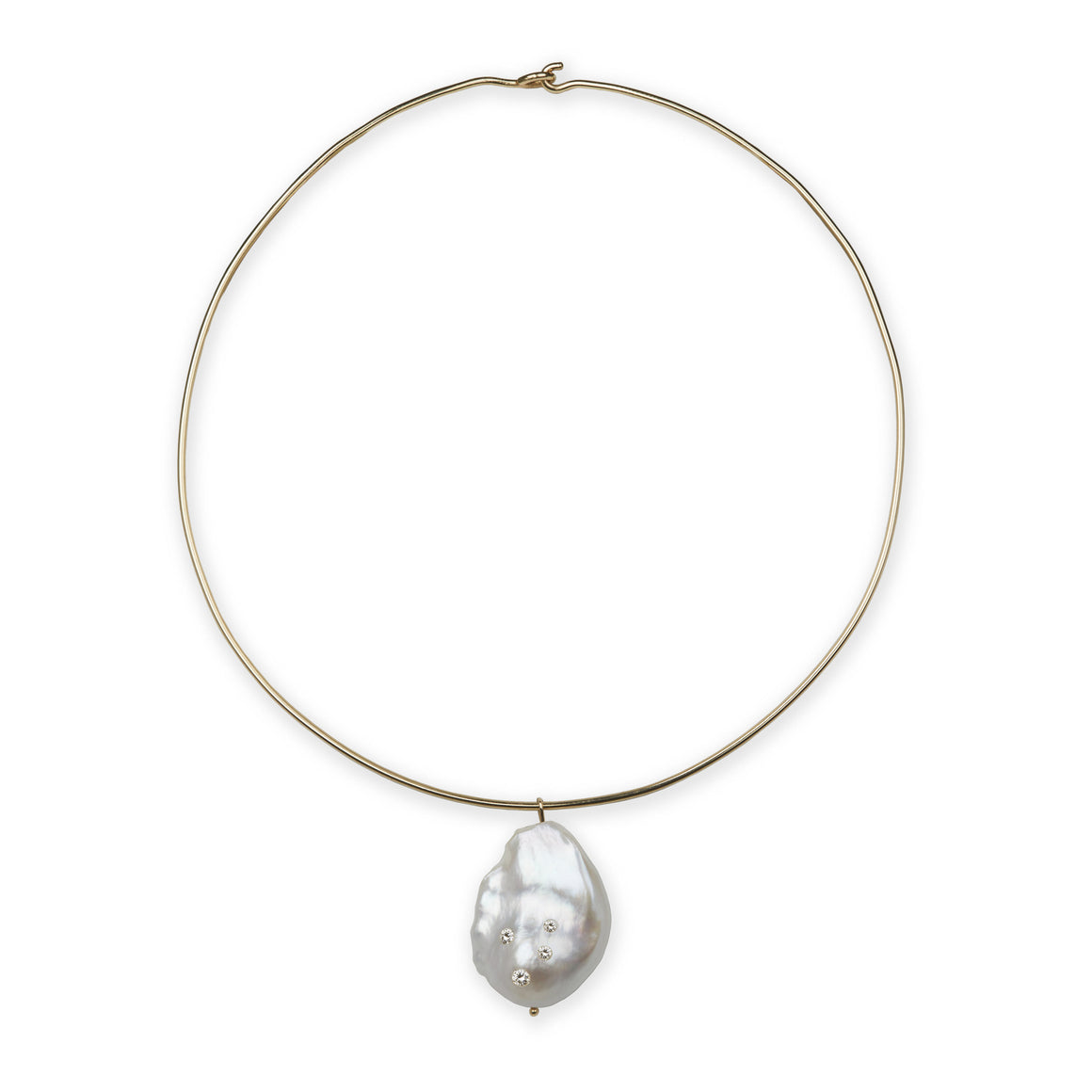 Diamond Baroque Pearl Cloud Necklace