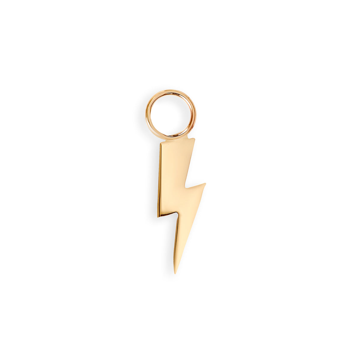 Gold Lightning Bolt Hoop Charm