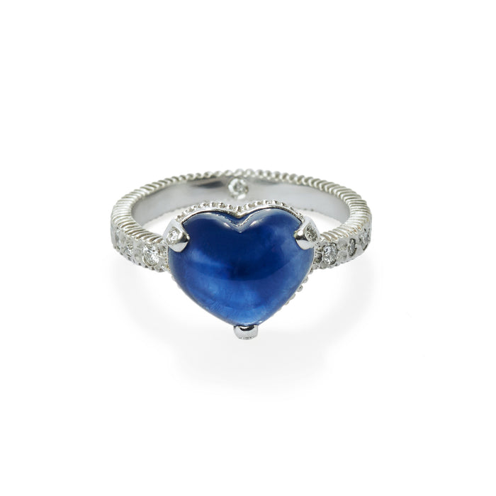 hammered harmony heart diamond and sapphire ring