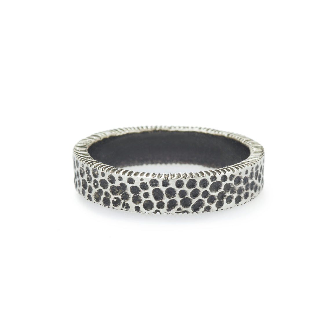 Oxidized Hammered Harmony Men's Ring