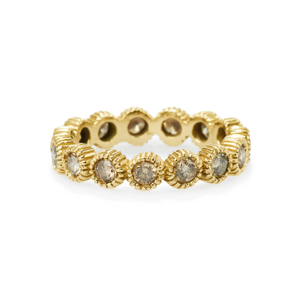 youth eternity ring with champagne diamonds