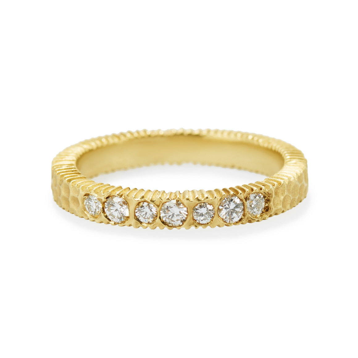Diamond Gold Hammered Harmony 7 Stone Ring