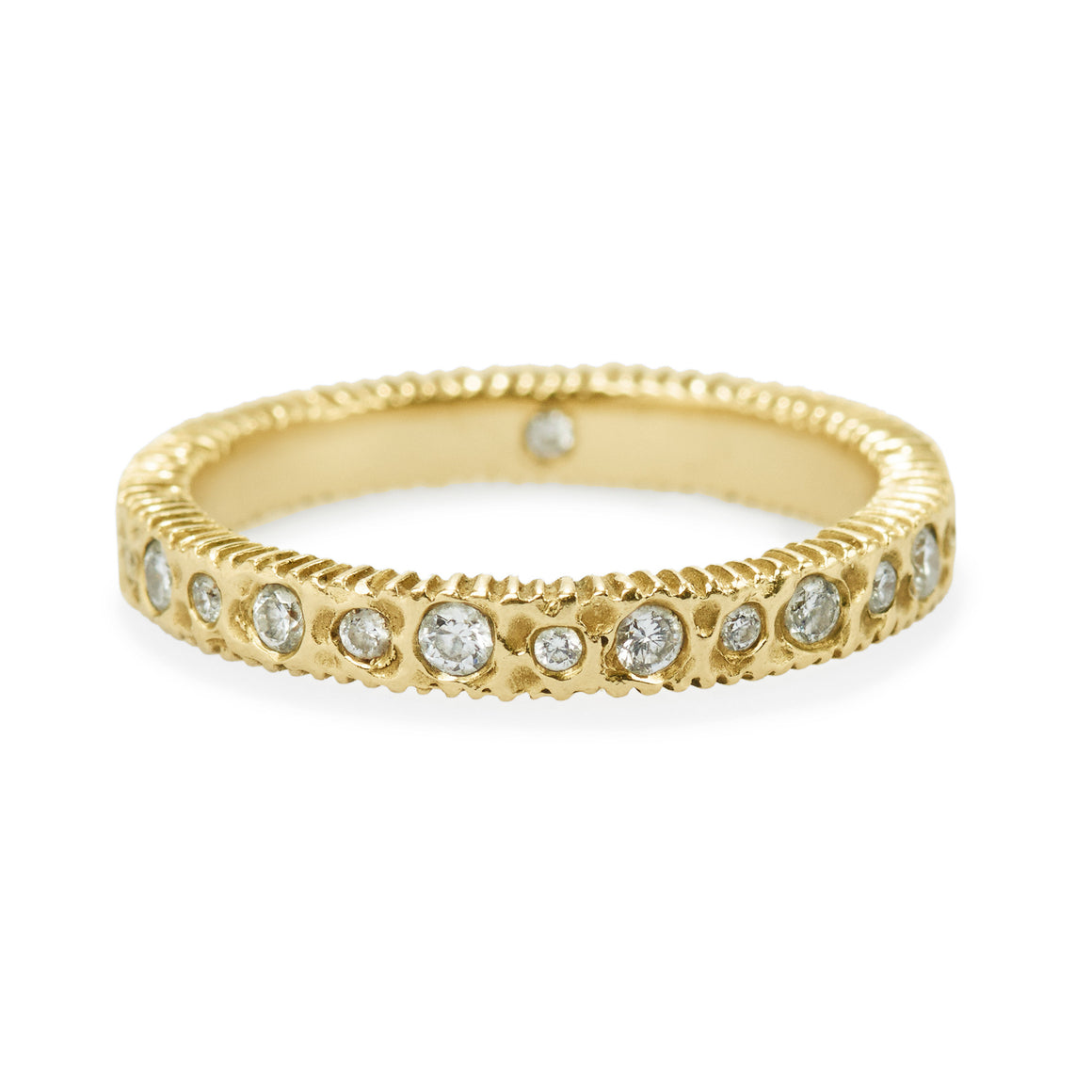 "Diamond Gold Eternity ""Hammered Harmony"" Ring"