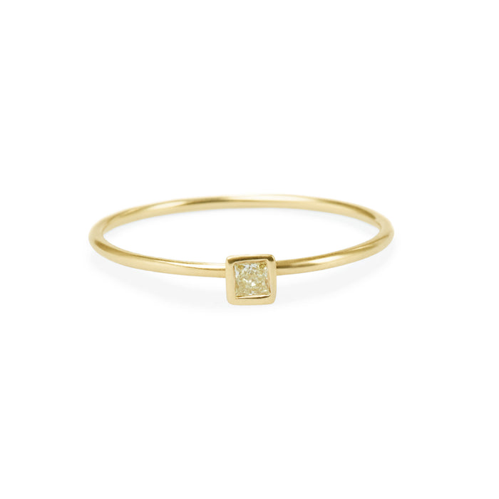 Large square yellow diamond friendship ring
