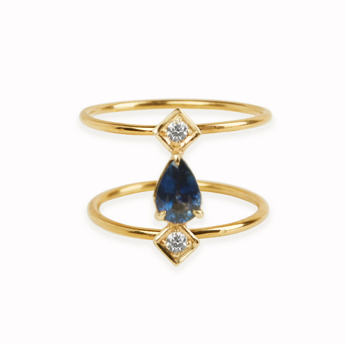 Sapphire and Diamond Double Band Ring