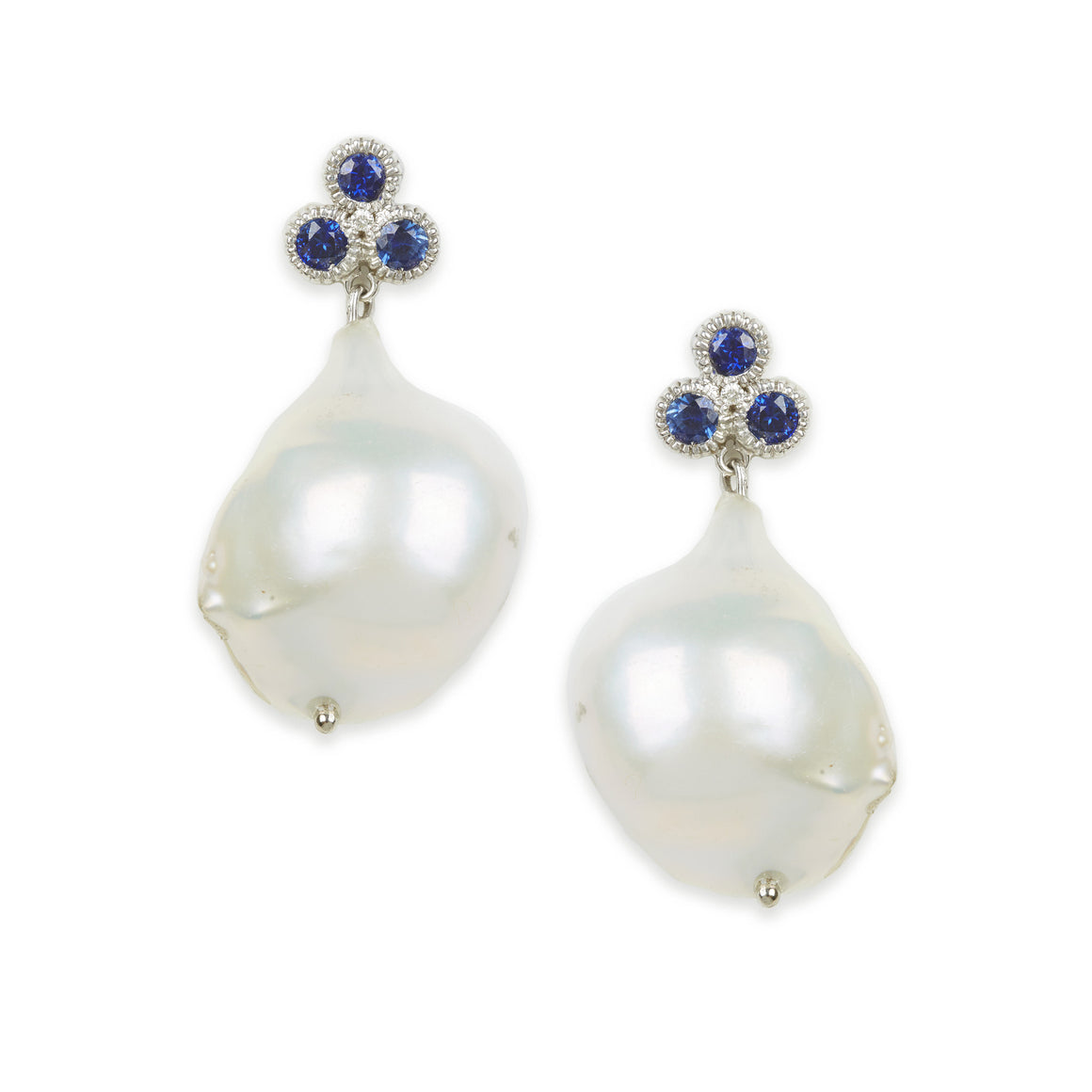 Nirvana Sapphire Baroque Pearl Earrings