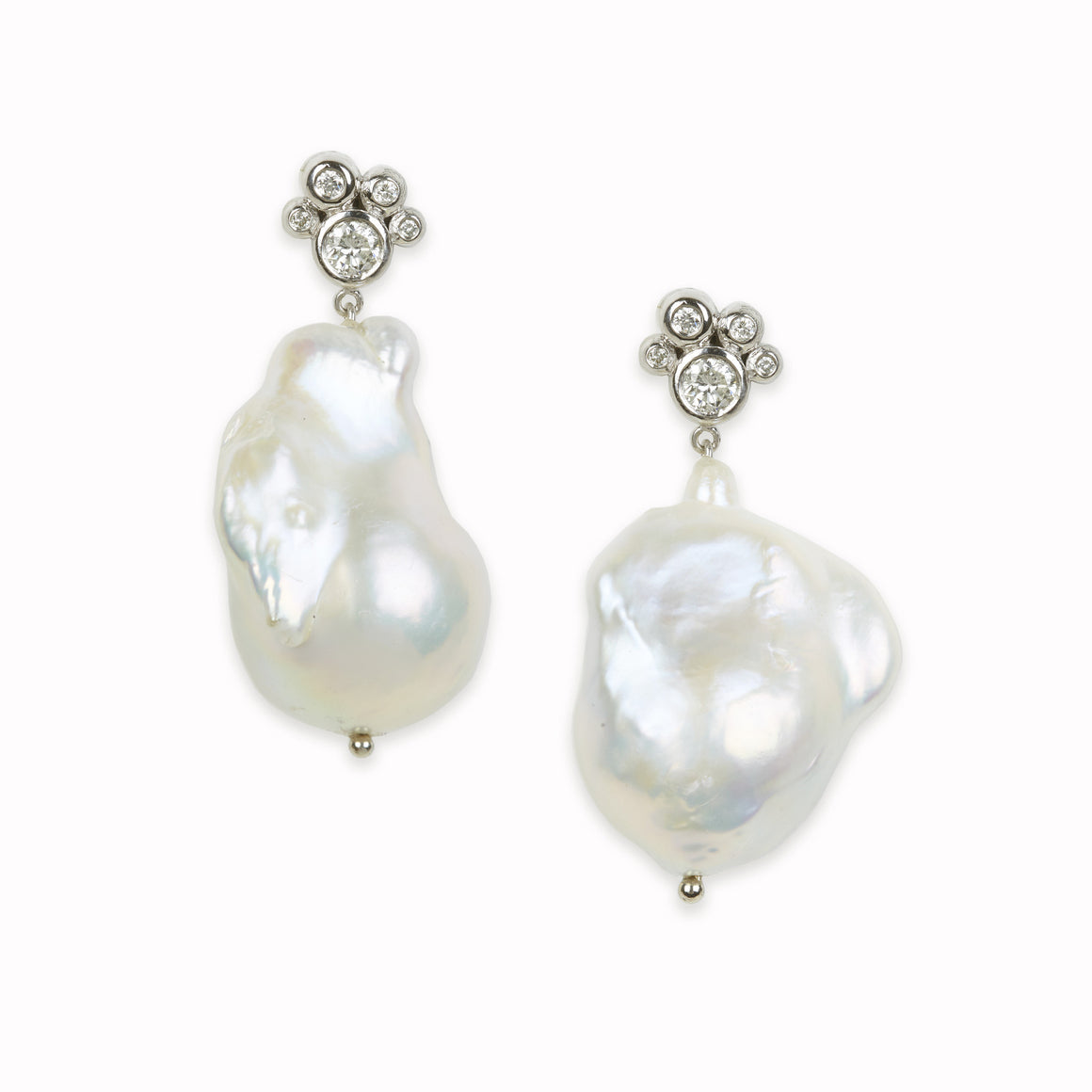 Diamond Pearl Bubble Earrings