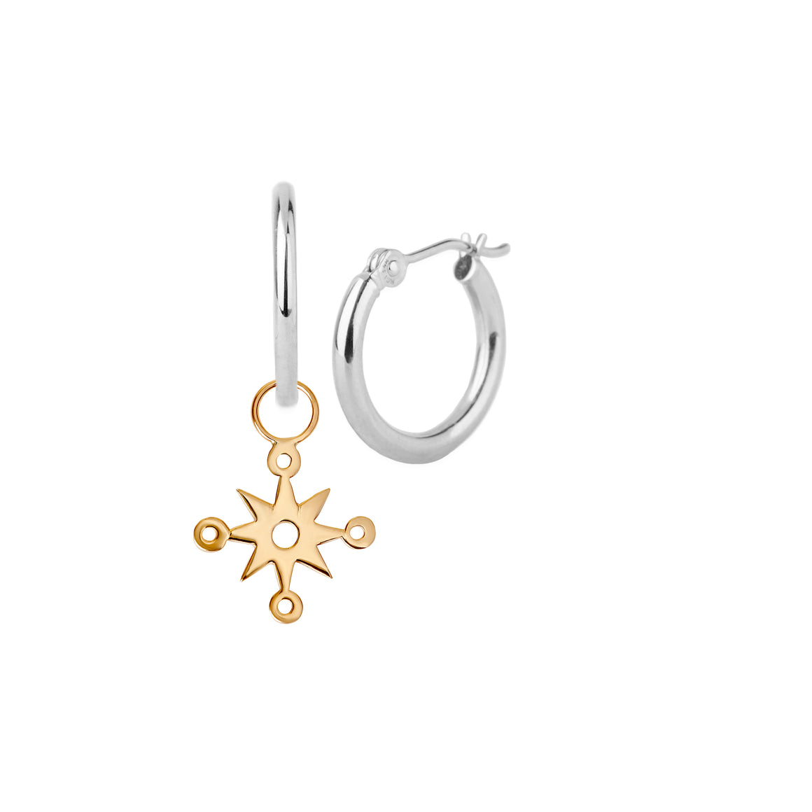 Silver and Gold Compass Charm Hoops