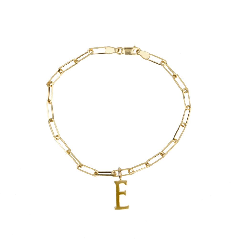 Gold Clip Chain and Initial Charm Bracelet