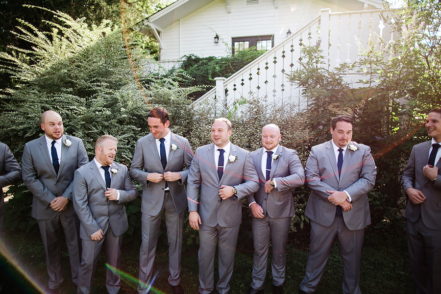 Textured gray groomsmen suits