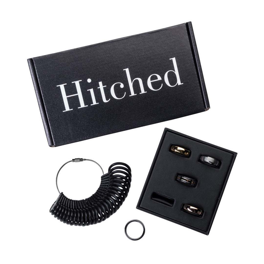 How to order men's wedding bands online. Hitched offers the largest selection of affordable wedding bands try on at home today.