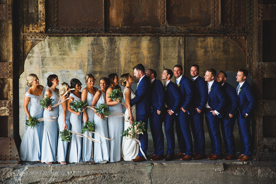 brilliant blue groomsmen suits