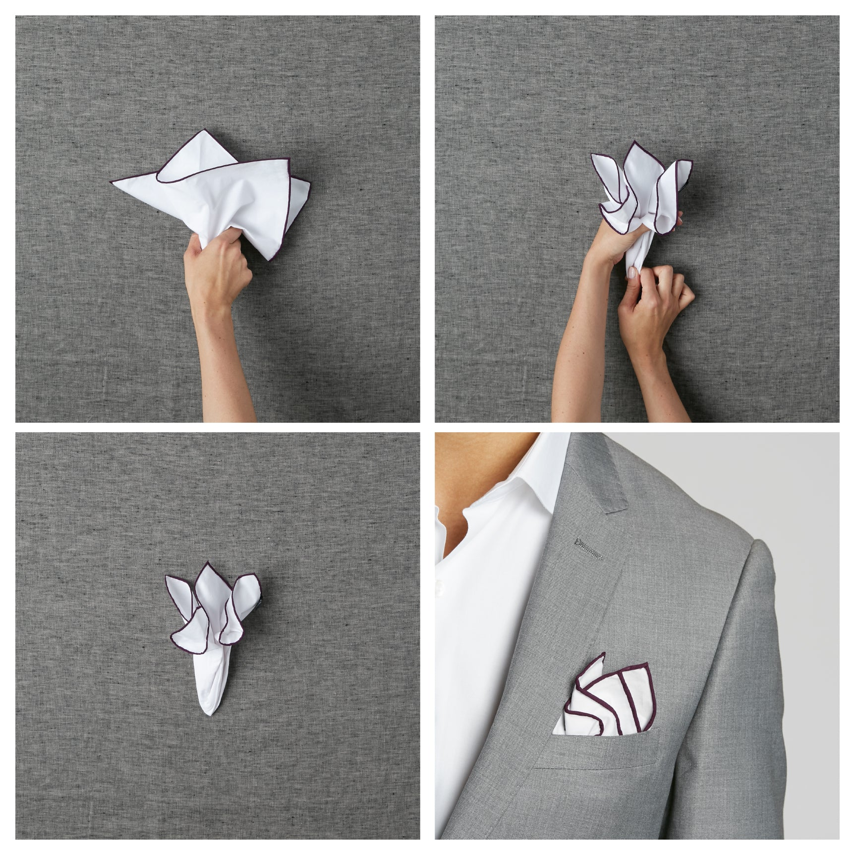 Wedding suits for men. How to fold a pocket square.