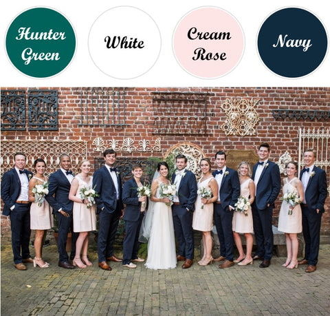 Spring Wedding Colors_Blush Pink and Navy Groomsman Suits