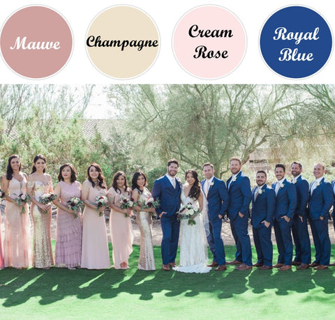 Spring Wedding Colors_Mauve, Champagne and Blue Wedding Suits