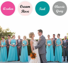 Spring Wedding Colors_Fuchsia, Teal and Gray Wedding Suits