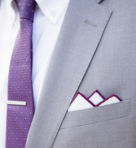 Purple wedding accessories for groomsmen