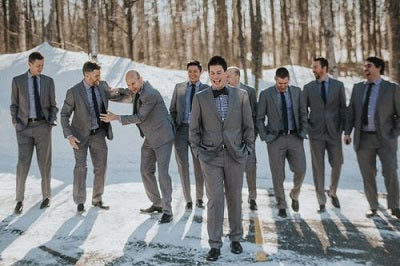 997c66382242 Gray is one of the gifts that keeps on giving. Not only will it keep your  groomsmen sharp on your big day, it's also perfect for days when the ...