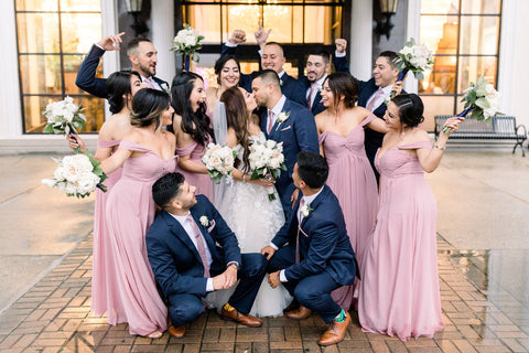 dusty rose and navy wedding