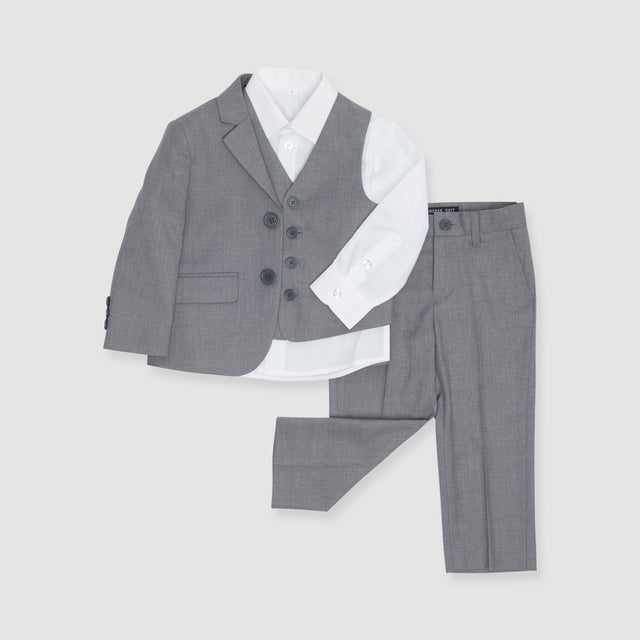 Textured Gray Boy's Suit