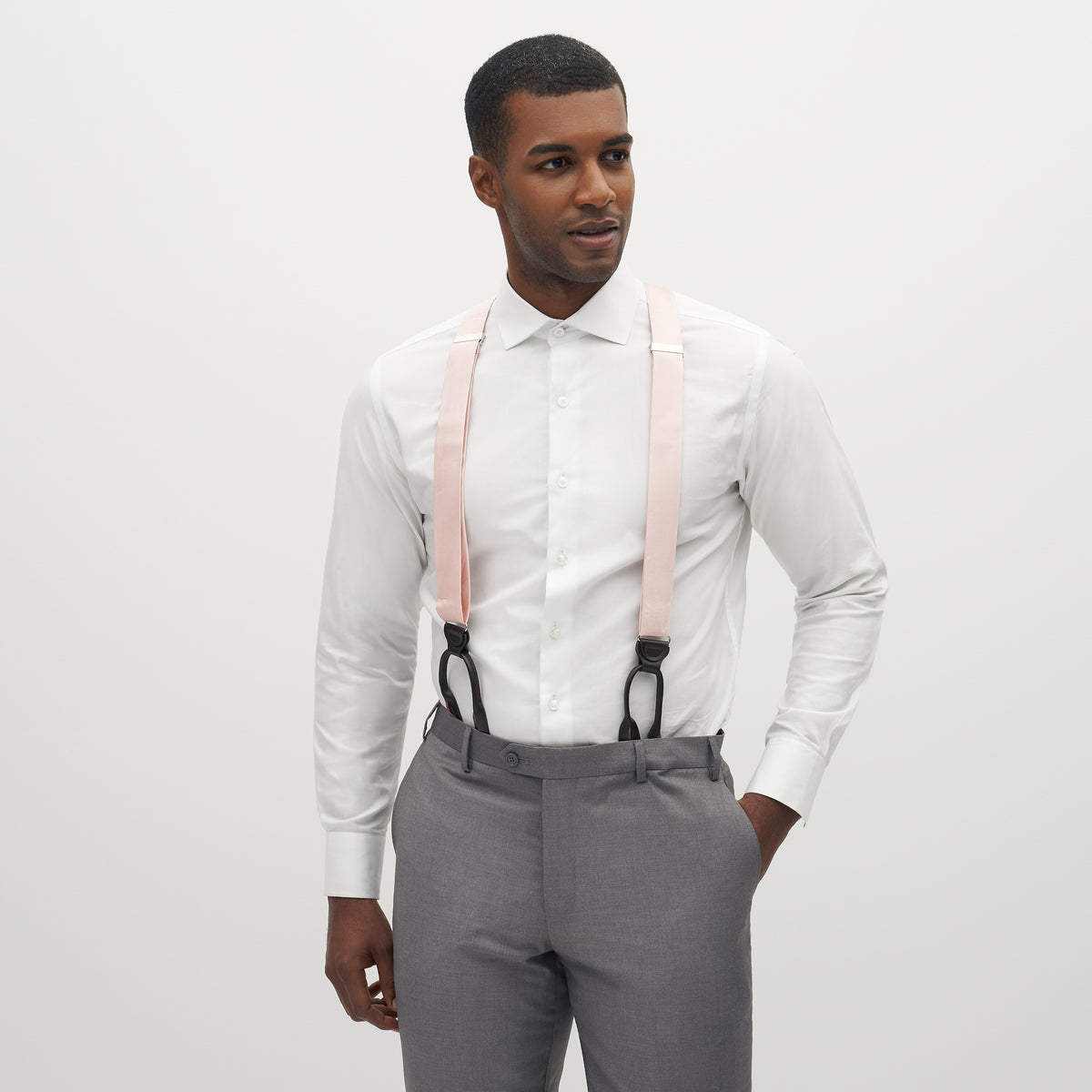 Grosgrain Solid Blush Pink Suspenders