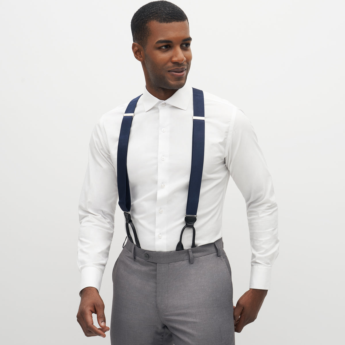 Grosgrain Solid Navy Suspenders