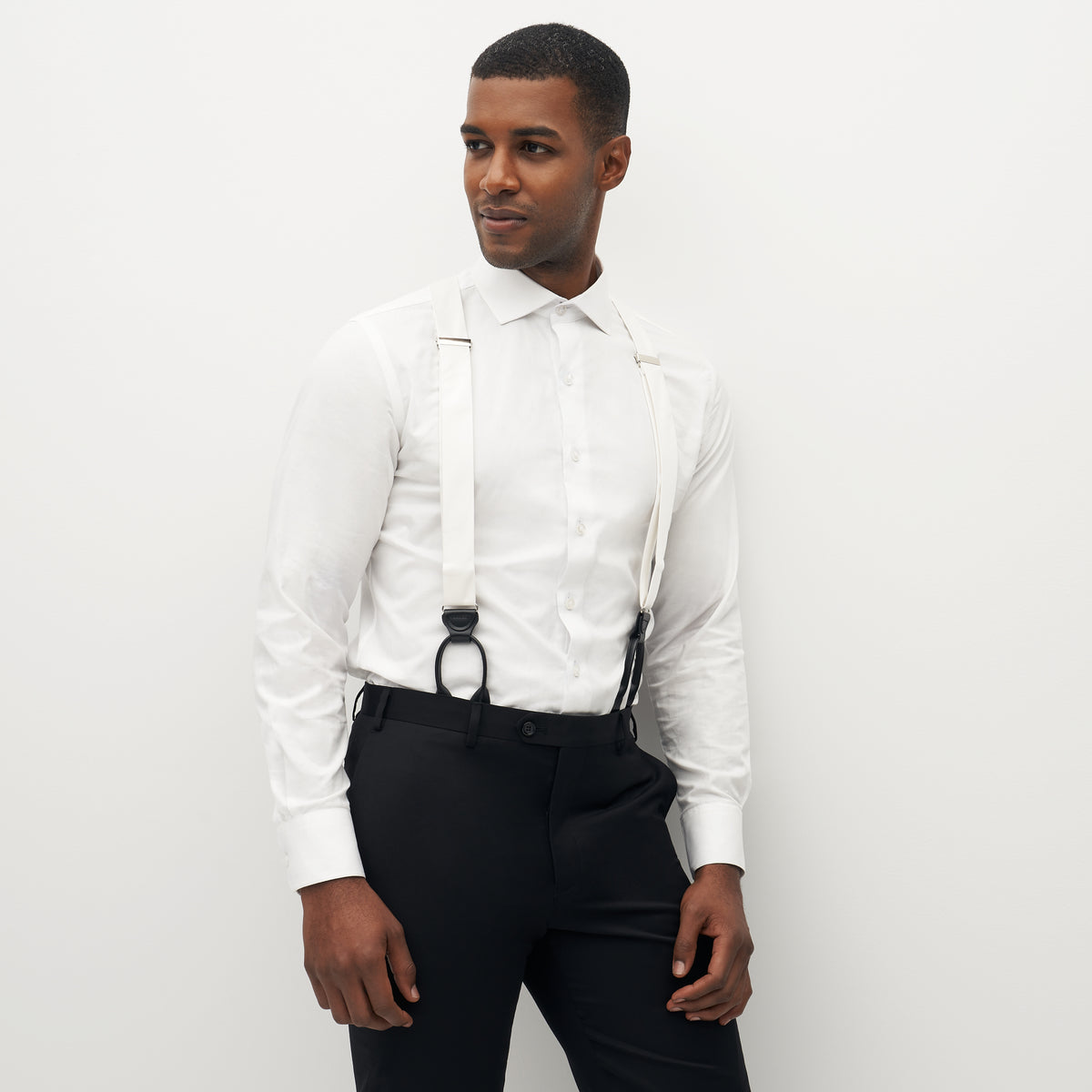 Grosgrain Solid White Suspenders