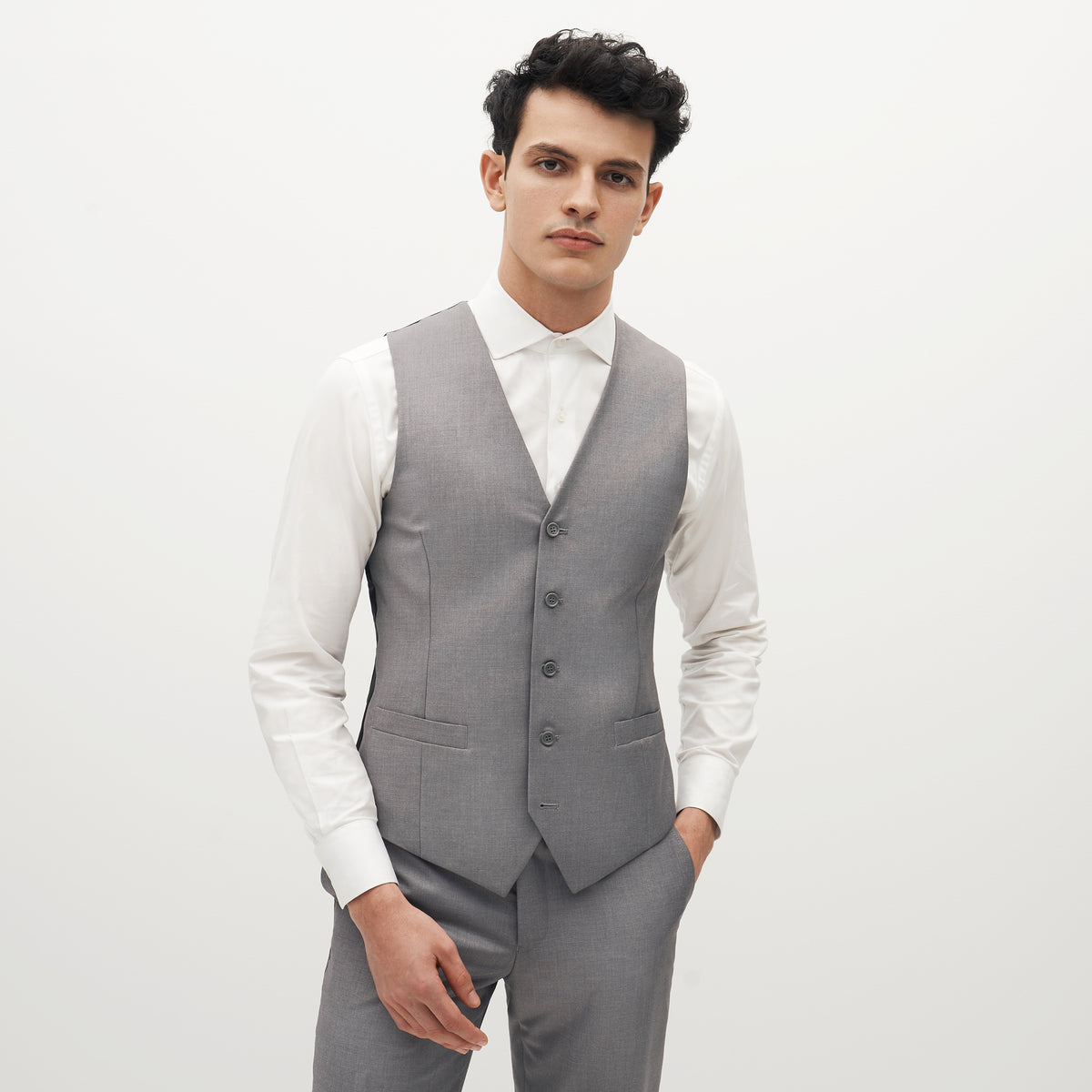 Textured Gray Suit Vest