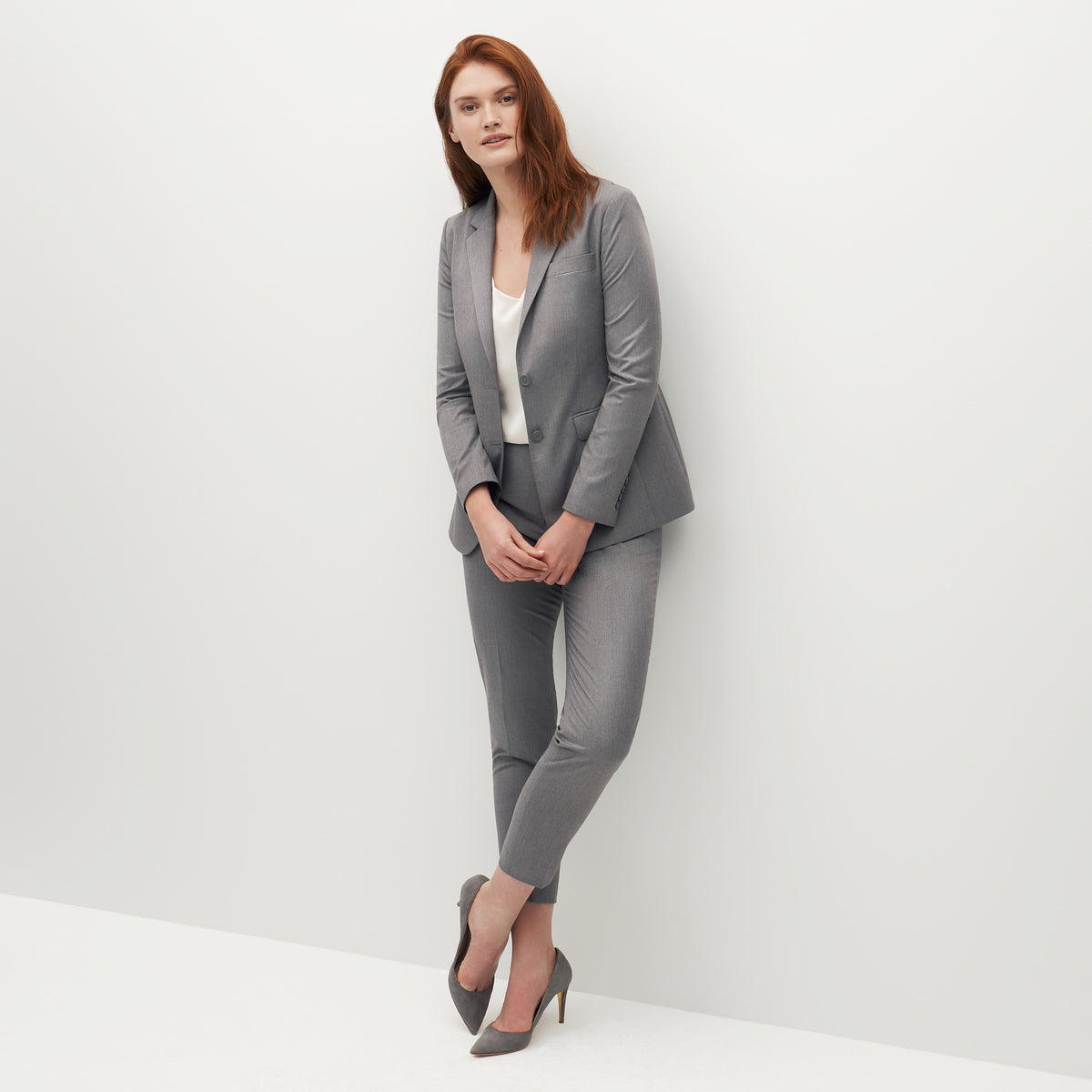 Women's Textured Gray Suit Jacket