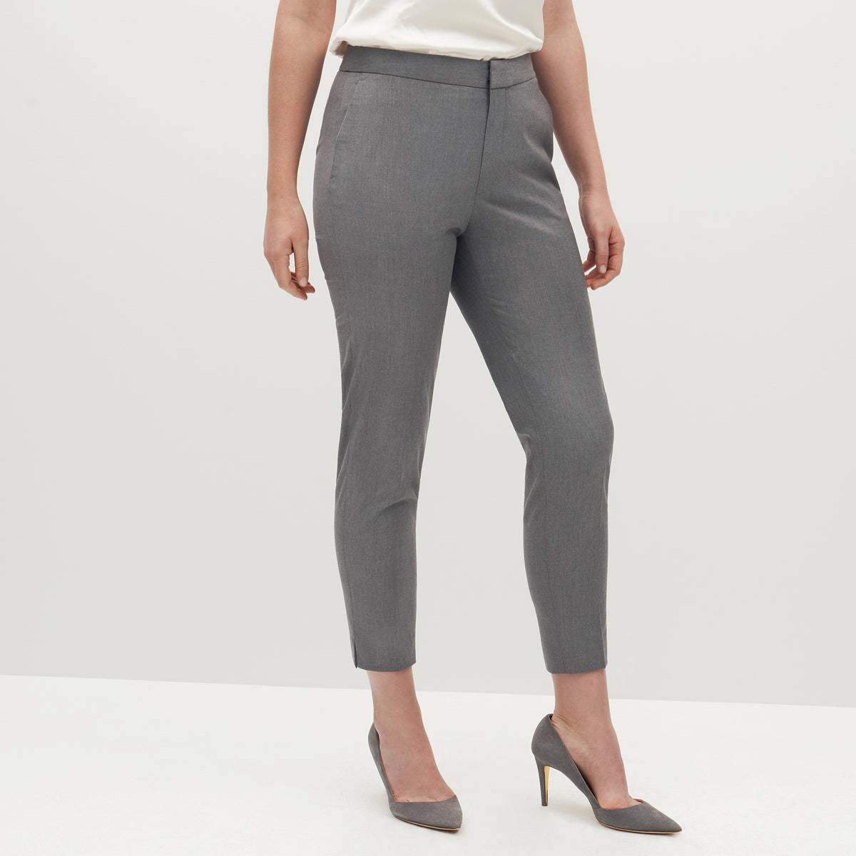 Women's Textured Gray Suit Pants