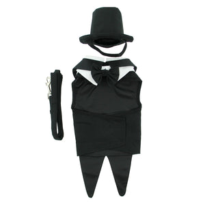 Black Dog Tuxedo, Tails, Top Hat And Bow Tie Collar by Bitch New York