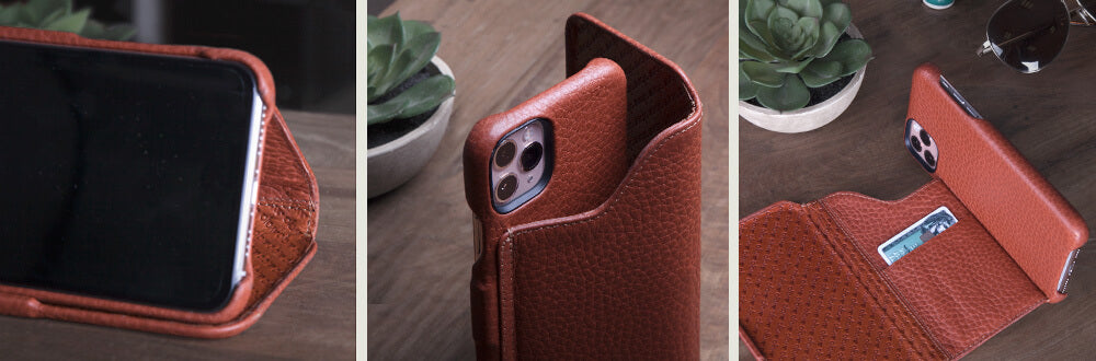 Customizable Folio Wallet Stand iPhone 11 Pro Max leather case