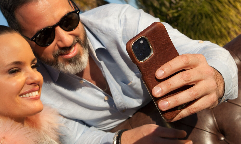 Custom Silver Grip iPhone 11 Pro leather case