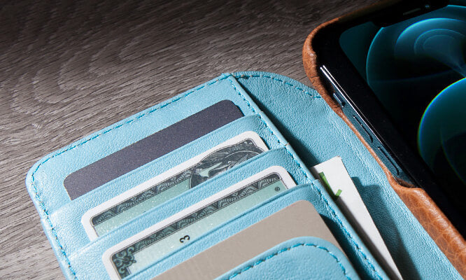 iPhone 12 & 12 pro wallet leather case with MagSafe
