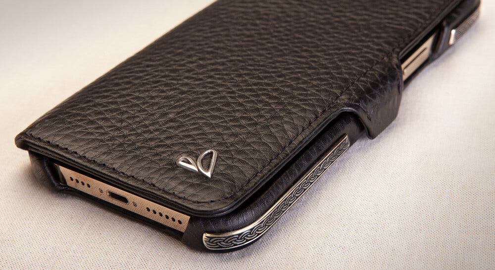 Customizable Silver wallet iPhone 12 Pro Max leather case