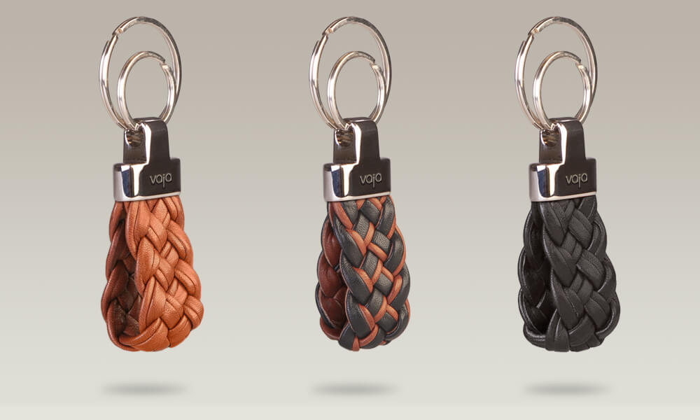 Trenzao leather key ring