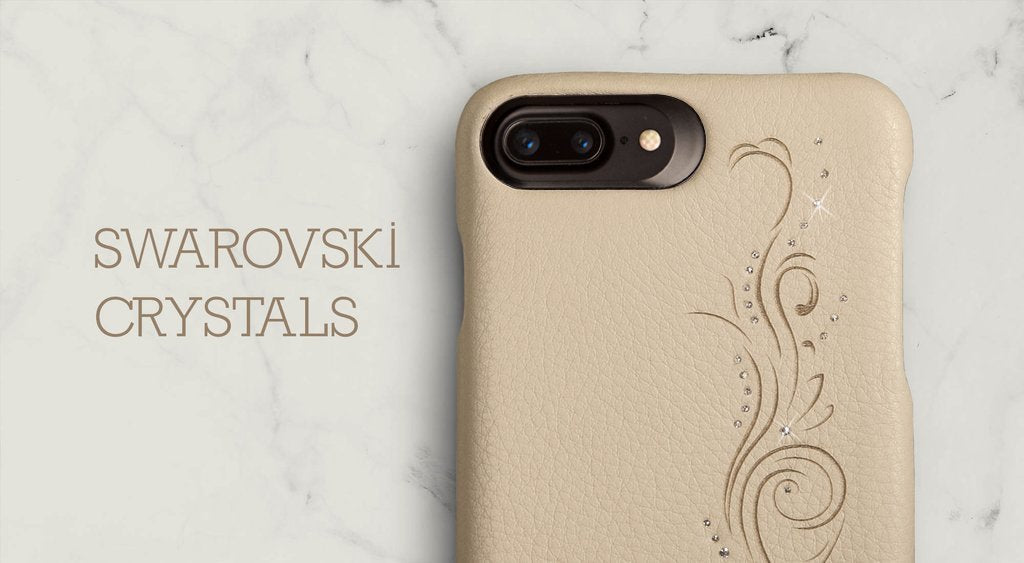 Custom Grip Crystal for iPhone 8 Plus Leather Cases - Luxury Leather Case with Swarovski Crystals