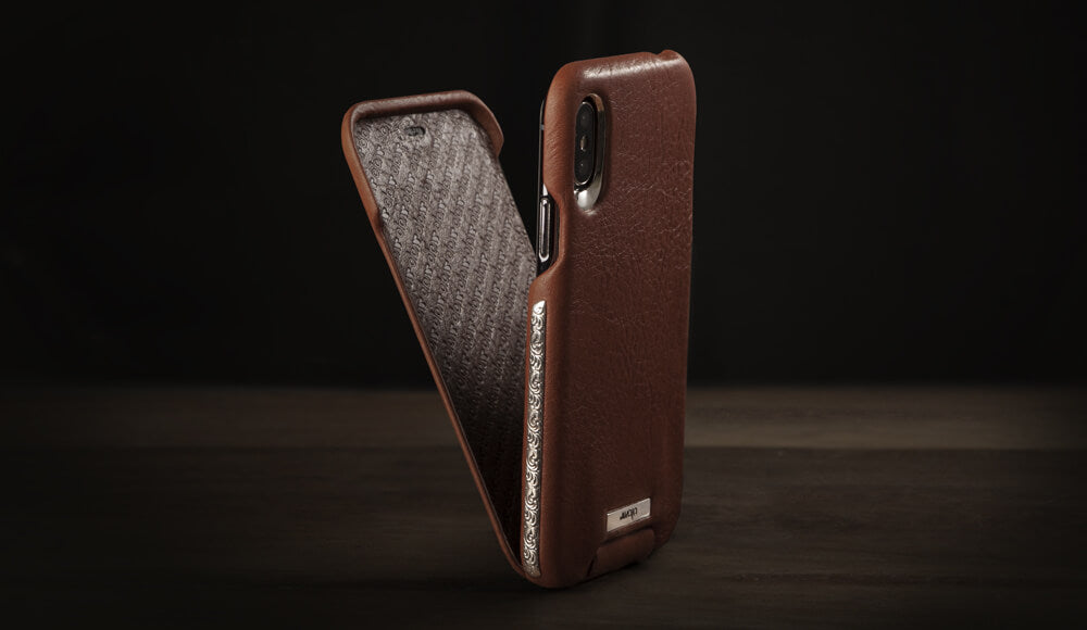 Custom Top Silver iPhone X / iPhone Xs Leather Case