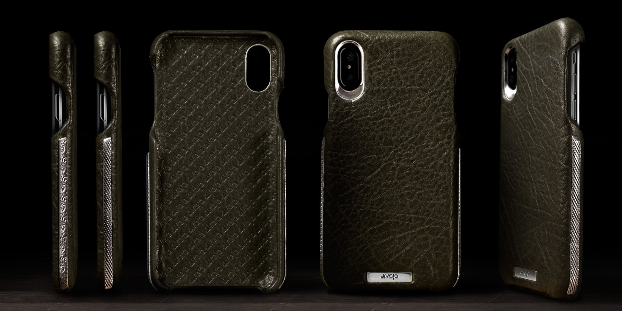 Customizable Grip Silver for iPhone X Leather Case
