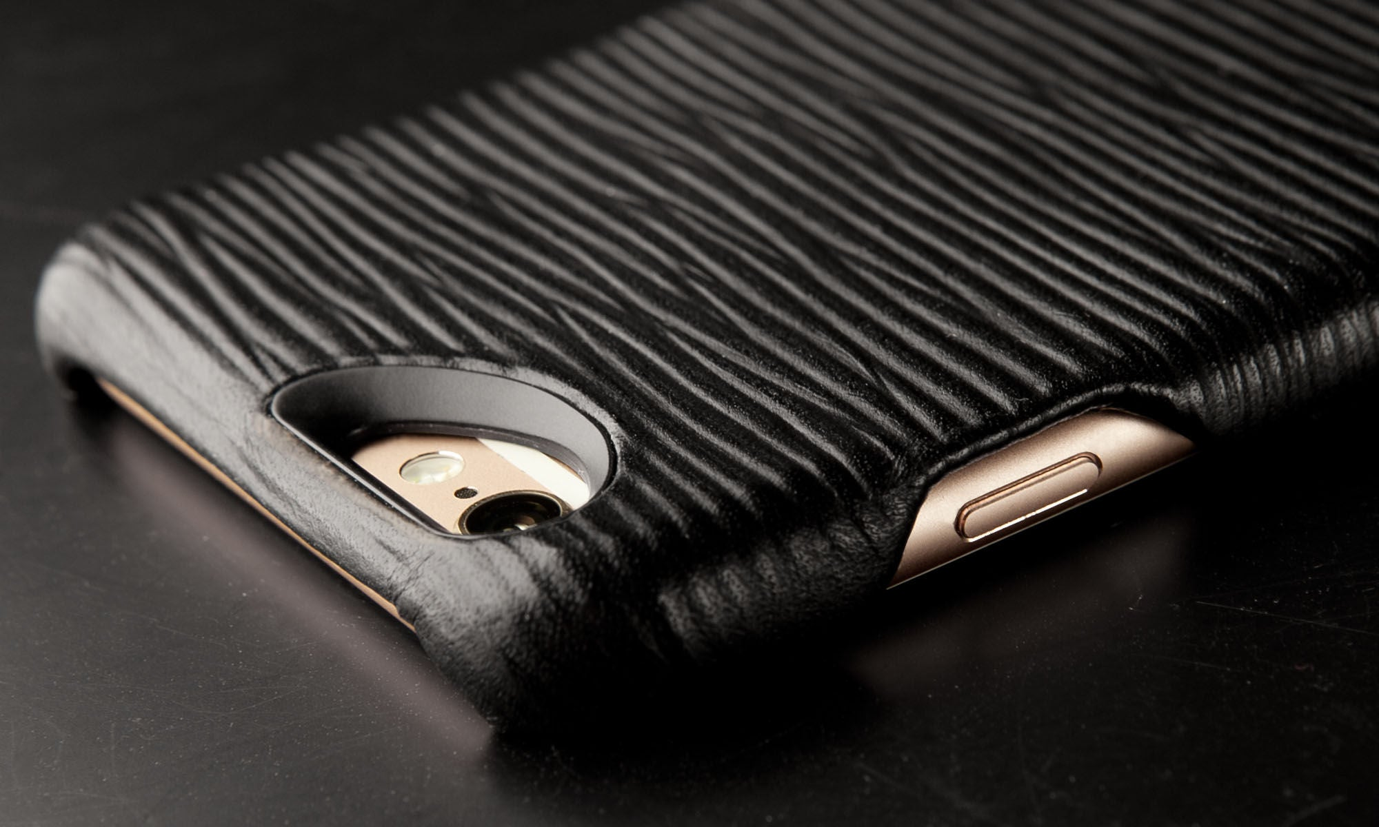iPhone 6/6s Plus Grip Legno Nero Premium Leather Case
