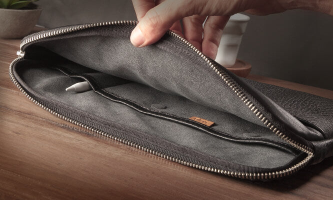 Zippered Leather Sleeve for iPad Pro 11