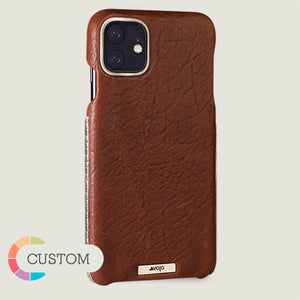 Customizable Silver Grip iPhone 11 leather case - Vaja