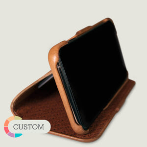 Custom Folio Wallet Stand iPhone Xs Max Leather Case - Vaja