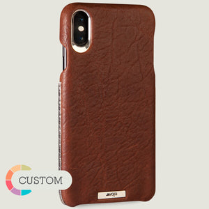 Custom Grip Silver iPhone Xs Max Leather Case - Vaja