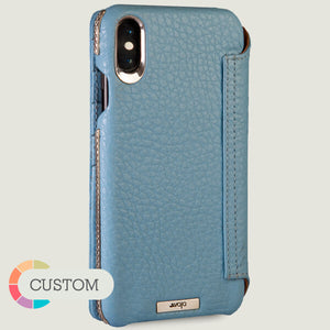 Custom Wallet Silver iPhone Xs Max Leather Case - Vajacases
