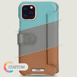 Customizable iPhone 11 Pro Max Wallet leather case with magnetic closure - Vaja