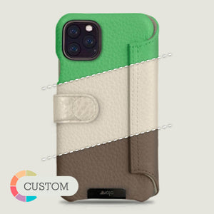 Customizable iPhone 11 Pro Wallet leather case with magnetic closure - Vaja