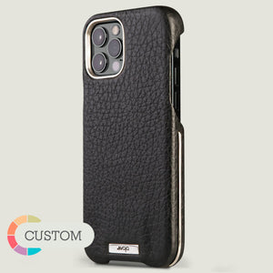 Customizable Silver Grip iPhone 12 Pro Max Leather Case - Vaja