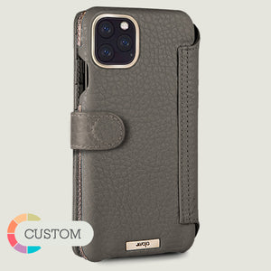 Customizable Silver iPhone 11 Pro Max Wallet leather case with magnetic closure - Vaja