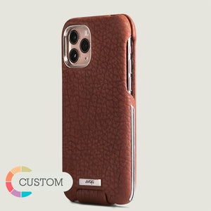 Customizable Top Silver iPhone 11 Pro leather case - Vaja
